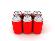 3d illustratie van zes rode aluminiumblikken Stock Foto's