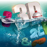 3D illustration. Illustration of 3D and 2D in water Stock Photo