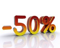 3D illustration, -50% Photographie stock