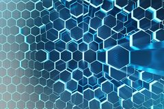 3D Illustration Abstract Blue Of Futuristic Surface Hexagon Pattern With Light Rays. Blue Tint Hexagonal Background. Stock Photography