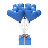 3D illustration blue gift and hearts air balloons. On a white background Stock Images