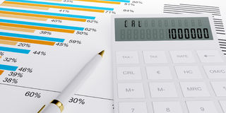 3d illustration of a business. Finance credit reports and statistics with a calculator and pen Royalty Free Stock Photo