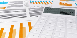 3d illustration of a business. Finance credit reports and statistics with a calculator and pen Stock Photography