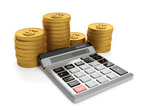 3d illustration, business ideas. Calculator and a group of gold coins Stock Image