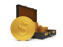 3d Illustration: Business technology. Group and a bag of gold coins Royalty Free Stock Image