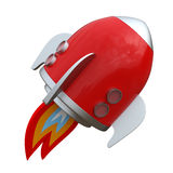 3D illustration of cartoon rocket over white backg Stock Photography