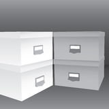 3d illustration of closed boxes. In light and dark grey tones Stock Photos