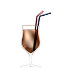 3D illustration of cocktail glass with straws Royalty Free Stock Images