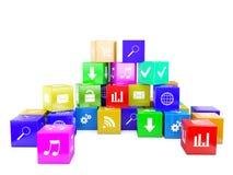 3d an illustration color cubes Stock Photos