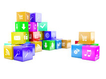 3d an illustration color cubes Stock Photos
