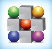3D illustration of colored spheres and grey cubes. 3D illustration of colored spheres next to grey cubes used as presentation template, or infographics Stock Photos