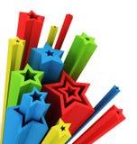3d illustration of colored stars stock illustration