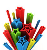 3d illustration of colored stars Royalty Free Stock Photography