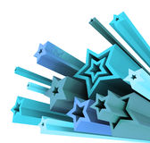 3d illustration of colored stars Royalty Free Stock Photo
