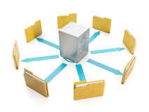 3d illustration, document storage. Storage boxes and folders to group round Stock Photos