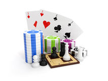 3d illustration: Entertaining game. Poker with chips and chess Royalty Free Stock Photos