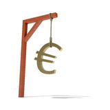 3d illustration of the euro sign. Hanging from a gibbet to symbolize the recession and possible death of the euro currency Stock Photography