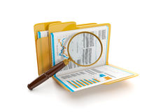 3d illustration: Finding a document file. Folder and a magnifying glass Stock Photos