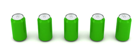 3d illustration of five green aluminum cans Stock Photo