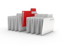 3d illustration of folder icons. Row with one selected Stock Photos