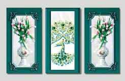 Free 3d Illustration For Wall Frame Decor . 3 Pieces White Vase With Flowers And Peacock And Classic Frame Royalty Free Stock Photos - 211458688