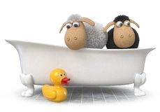 3d Illustration Funny Sheep Sitting In The Bath Stock Photography