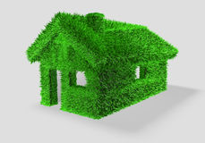 3D illustration of a green house with grass Stock Image