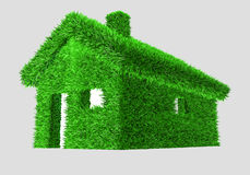 3D illustration of a green house with grass Royalty Free Stock Photos