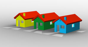 3D illustration of a group of houses Stock Photo