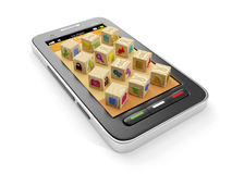 3d illustration: A group of icons a. Nd mobile phone. Creating icons for the manufacture of mobile applications Royalty Free Stock Photo