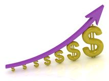 3D Illustration of the growth of the dollar Stock Photography