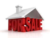 3d illustration of house for sale sign over white. Background Royalty Free Stock Photos