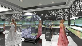 3D illustration of jewelry salon Stock Images
