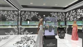 3D illustration of jewelry salon Stock Photography