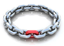 3d illustration of metal chain circle over white b Royalty Free Stock Photos
