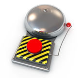 3d illustration of Metallic secure bell with a red. Metallic secure bell with a red button. isolated on white background Stock Images