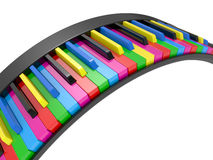 3d illustration Multi-coloured piano keys Stock Photography