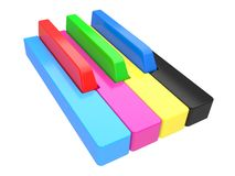 3d illustration Multi-coloured piano keys Royalty Free Stock Image