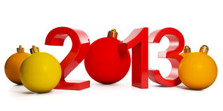 3d illustration: New Year and Christmas. In 2013 and a group of Christmas decorations vector illustration