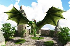 Free 3D Illustration Of Fantasy Showing Dragon And Riding Flying Above A Castle Tower Royalty Free Stock Image - 167975056