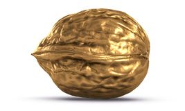 3D Illustration Of Golden Nut Isolated On White Stock Image