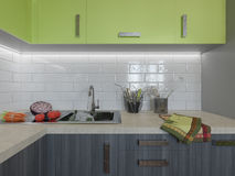 3D Illustration Of Kitchen With Wooden And Green Facades Royalty Free Stock Image
