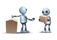 3d Illustration Of  Little Robot Confrontation Deny Stock Of Papper Royalty Free Stock Photos