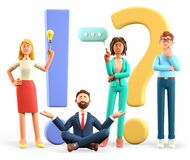 Free 3D Illustration Of People With Huge Exclamation And Question Marks In Support Center. Multicultural Women And Men Asking Questions Royalty Free Stock Image - 216725406