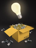 3d an illustration: One burning bulb Stock Images
