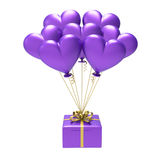 3D illustration purple gift and hearts air balloons Royalty Free Stock Image