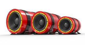 3d illustration of red audio speaker Stock Photo