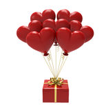 3D illustration red gift and hearts air balloons. On a white background Royalty Free Stock Images