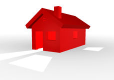 3D illustration of a red house. 3D illustration of a simple red house with shadow Royalty Free Stock Photography