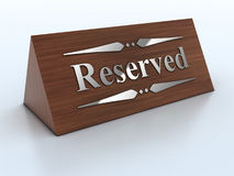 3d Illustration of reservation sign Stock Photography